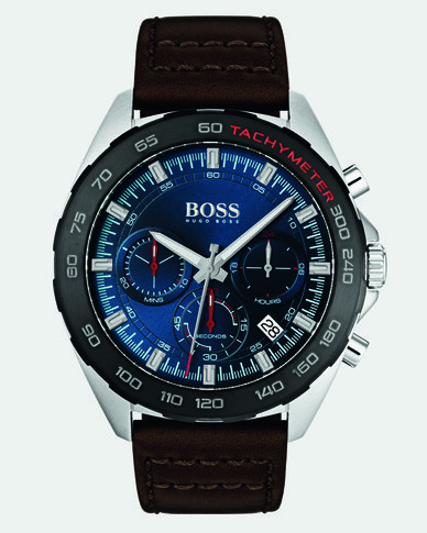 Hugo Boss Intensity Leather Strap Watch Brown