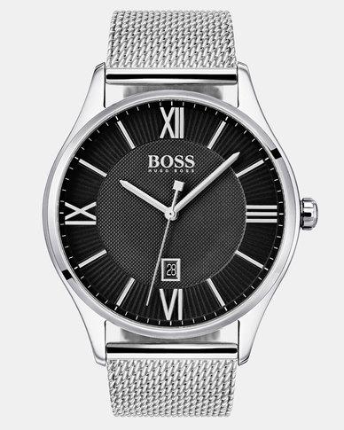 Hugo Boss Governor Mesh Strap Watch Silver