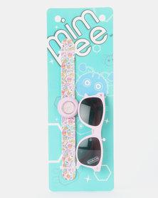 Mimbee Light Pink Watch and Wayfarer Sunglasses