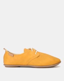 Pierre Cardin Jazzy Lace Up Flats Mustard