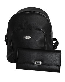 Fino Pu Leather Backpack & Purse Set - Black