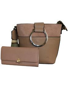Fino Pu Leather Crossbody Shoulder Bag & Purse Set- Dusty Pink