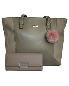 Fino Pu Leather Tote Handbag and Removable Pom & Purse Set - Grey