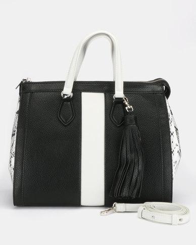 Steve Madden Bjean Satchel Bag Black/White