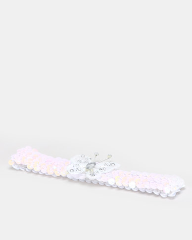 Jewels and Lace White Butterfly Sequin Headband