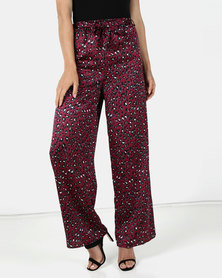 Brett Robson Suki Animal Print Satin Wide Leg Pants with Tie Belt