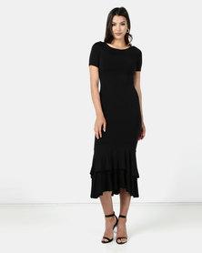 Brett Robson Kiara Double Ruffle Black Dress