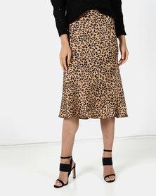 Brett Robson Noor Bias Cut Satin Animal Print Skirt