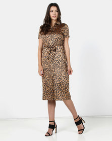 Brett Robson Pia Animal Print Satin Shirt Dress