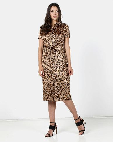 Brett Robson Pia Animal Print Satin Shirt Dress