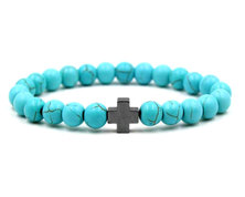 Urban Charm Natural Stone Bracelet with Hematite Cross - Turquoise