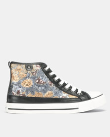 Tomy Takkies Lace Up Floral Black