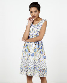 Assuili Iselle Printed Dress Blue