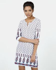 Assuili Soline Printed Tunisian Dress White