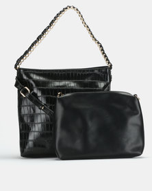 Miss Black Gretha Faux Croc Hobo Black Bag
