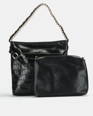 Miss Black Gretha Faux Croc Hobo Black Bag