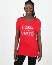 ECKÓ Unltd Cold Shoulder Top Red