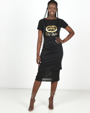 ECKÓ Unltd Mesh Twofer Dress Black