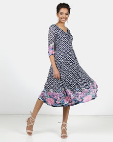 Queenspark Pink Hydrangea Border Fit & Flare Knit Dress