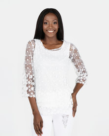 Queenspark Crochet Border Design Knit Top White