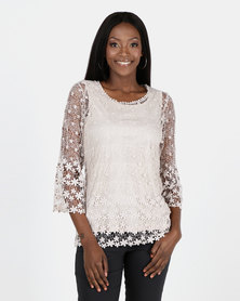 Queenspark Crochet Border Design Knit Top Stone