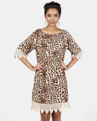 Queenspark Brown Lace Tipped Animal Print Tunic Knit Dress