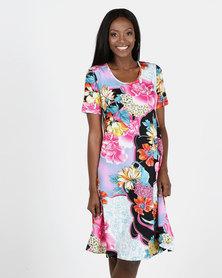 Queenspark Pink Flower Umbrella Knit Dress
