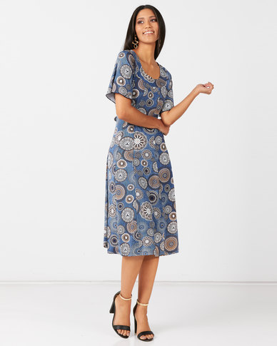 Queenspark Navy Looking Swell Print Knit Dress