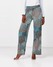 Queenspark Peacock Print Knit Pants Green