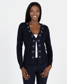Queenspark Navy Flower Trim Knitwear Cardigan