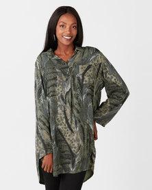Queenspark Fatigue Animal Print 3/4 Sleeve Woven Shirt Dress