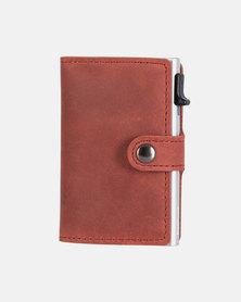 EaziCard RFID Wallet Genuine Leather Saddle - Red/Silver