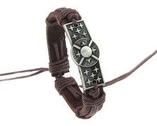 Urban Charm Leather Bracelet Antique Silver Plate - Celtic Shield