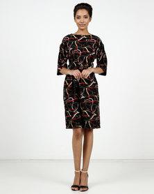Cath Nic By Queenspark Chain Print Woven Kimono Dress Black