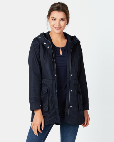 Cath Nic By Queenspark Woven Parka Jacket Navy