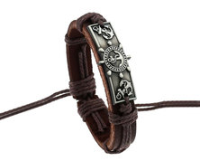 Urban Charm Leather Bracelet Antique Silver Plate - Nautical