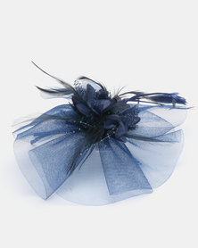 Queenspark Navy  Feather Trim Fascinator With Alice Band