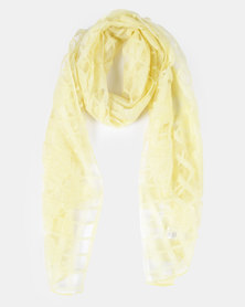 Queenspark Yellow Rose Burnout Scarf