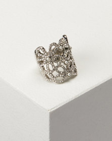 Queenspark Silver Piligree With Pearls Ring
