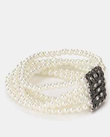 Queenspark White 6 Strand Pearl Stretchy Bracelet