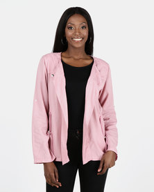Miss Cassidy By Queenspark Pink New Tencel Woven Jacket