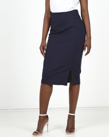 Miss Cassidy By Queenspark Navy Cutline Detail Knit Pencil Skirt