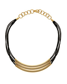 Tifawt Jewellery Black Necklace Solid Gold Bars