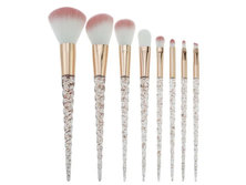 Happy You Gold Glitter Unicorn Crystal Spiral Makeup Brushes Set - 8pc