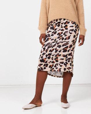Royal T Leopard Print Silky Midi Skirt Brown