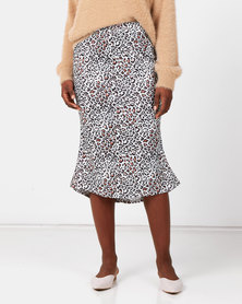 Royal T Cheetah Print Silky Midi Skirt White