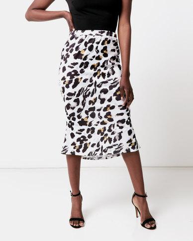 Royal T Leopard Print Silky Midi Skirt Multi