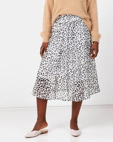 Royal T Animal Print Silky Midi Skirt Brown
