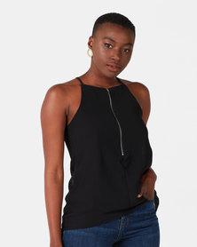 Royal T Zip Cami Top Black