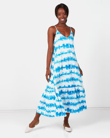 Royal T Tie Dye Maxi Dress Blue